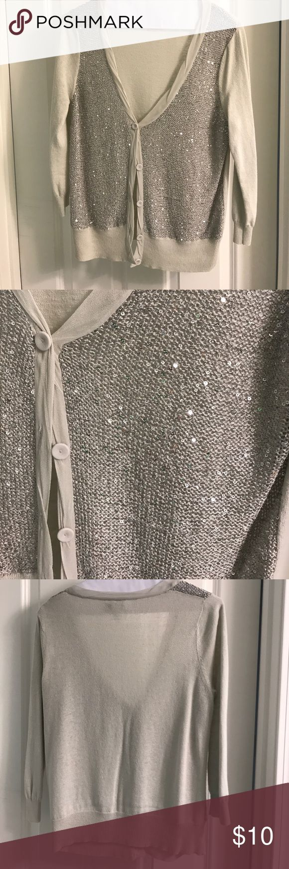 Sequin Silver Cardigan Loft silver/light grey cardigan. Size Small.  Small sequins on front.  Freshly Dry Cleaned. LOFT Sweaters Cardigans