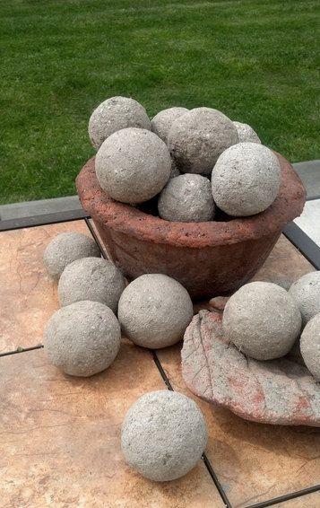 Hypertufa/cement garden spheres, moss growing balls.