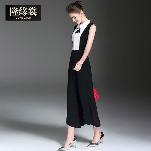 Весна 2017 новых женщин моды темперамент дамы рукавов Тонкий тонкий кусок брюки широкие брюки ноги