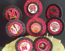 University of Maryland Terrapins themed;Maryland Terps March Madness Cupcake Toppers, Food Picks,Party Decorations,Maryland Graduate Favors