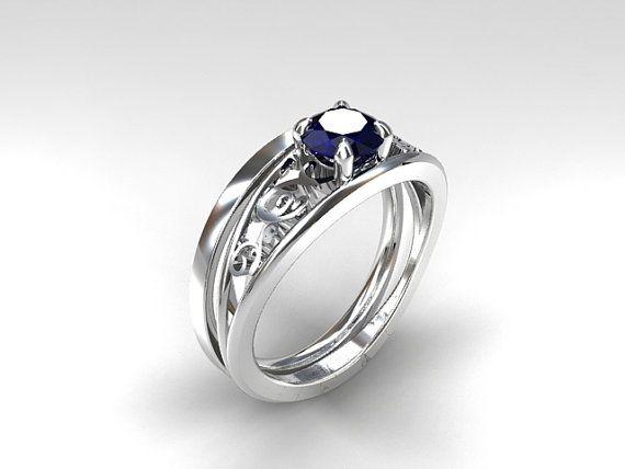 Celui Engagement Ring Set with Blue Sapphire
