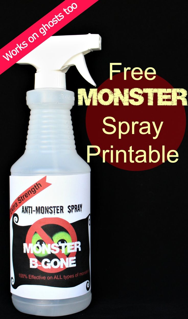 FREE Monster Spray printable!!  Get rid of those pesky monsters tonight! (and ghosts too!!)