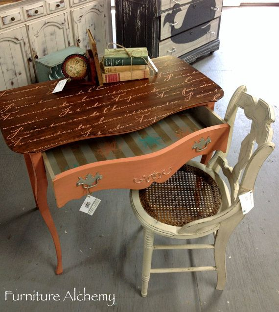 Chic Writing Desk Or Vanity, Coral Furniture, Rustic, Painted Furniture,  Shabby Chic Furniture, Painted Vanity, Chalk Painted