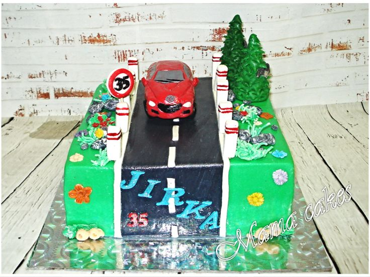 auto na cestě  car on the road cake