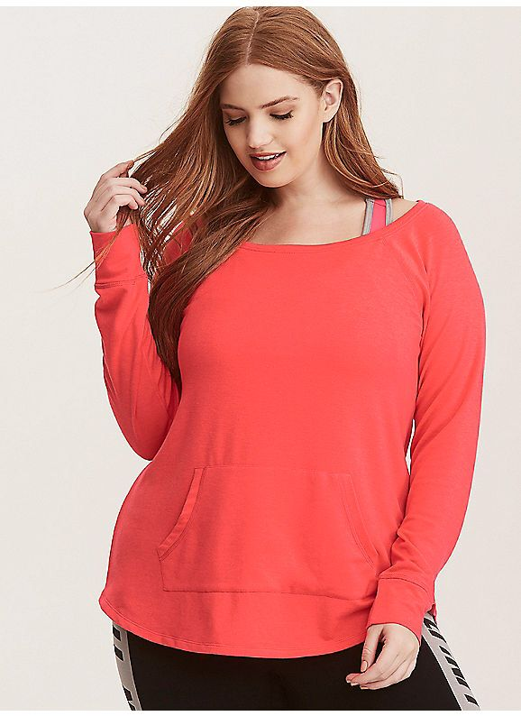 57bac77b361804 TORRID   Torrid Active - French Terry Off Shoulder Tunic