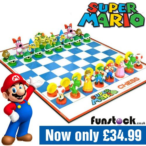 """Perfect for Mario fans and chess fans alike, this Super Mario-themed chess set features 32 hand-painted figures in a game that everyone can join in on.   Great for play or display, Super Mario Chess is both a collector's item and a great way to get your kids into the traditional board game.  http://www.funstock.co.uk/super-mario-chess-set  Use code """"PINFUN"""" for 5% off!  #retrogaming #mario #chess #giftideas #xmas #christmas"""