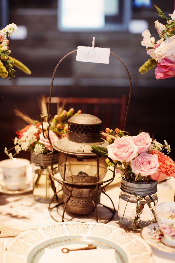 Vintage lantern centerpiece