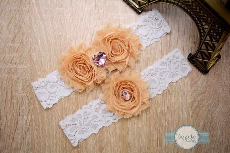 Garter Set, Wedding Garter, Handmade with White Lace Cream Nude Flower and Pink Rhinestone by BespokeGarters on Etsy