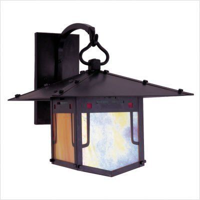 "Arroyo Craftsman PDB Pagoda Outdoor Wall Lantern by Arroyo Craftsman. $410.93. Arroyo Craftsman PDB Features: -Pagoda collection. -Available in several finishes. -Only offered with green, red and gold white iridescent combination (GRC) glass. -UL listed. -Suitable in damp location. Specifications: -Accommodates: 1 x 100W medium incandescent bulb. -Available sizes:. -16"" Overall dimensions: 16"" H x 17"" W x 20"" D. -Mounting base: 11"" H x 5"" W. -Mounting center to top: 7..."