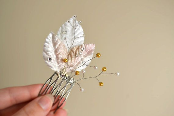 Bridal Hair Comb, Gold and White Pearl Clusters, Swarovski Crystal and Velvet leaf Headpiece, Crystal Wedding Hair Comb, Pearl Hair Pin