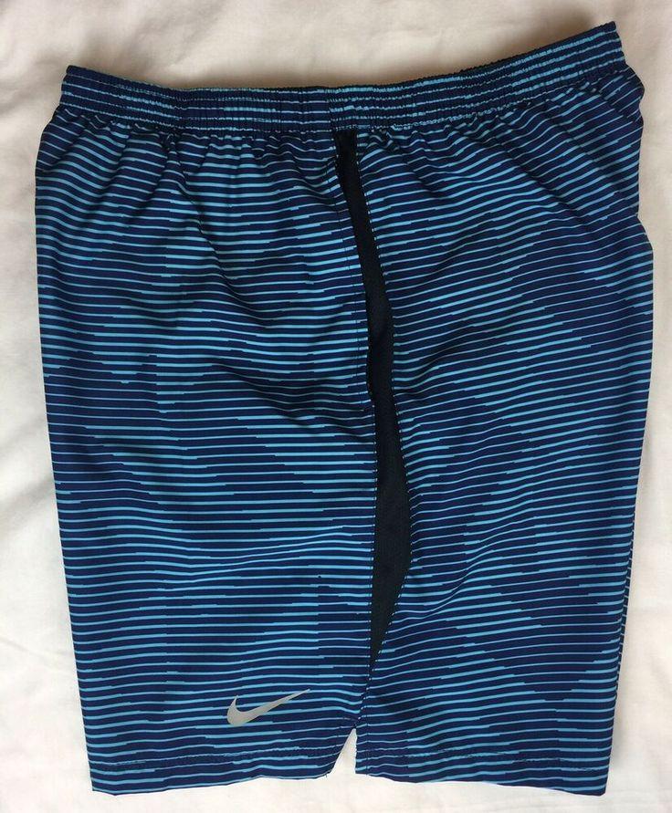 Nike dri fit swim trunks shorts built in brief blue teal