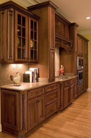 Rustic cherry cabinets. These are gorgeous!