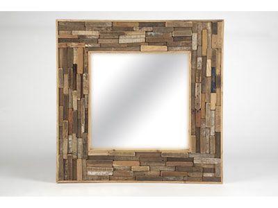 Miroir carré en bois recyclé 100 x 100cm PLANETE prix promo Conforama 239.00 € TTC