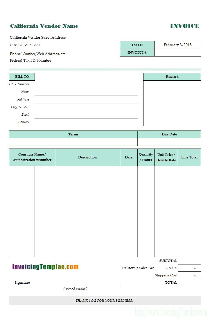 Invoice Template in Excel fCaliforniaor