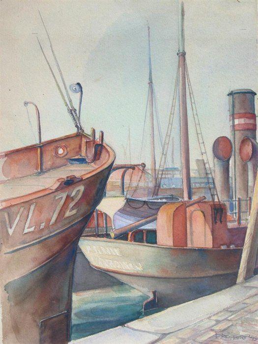 Aquarel getiteld 'Gezicht op de Koningin Wilhelminahaven', 1949
