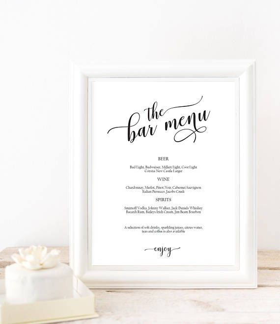 Bar Menu Sign Template Wedding Bar Sign Printable Bar Menu