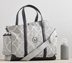 Gray Ikat Classic Diaper Bag