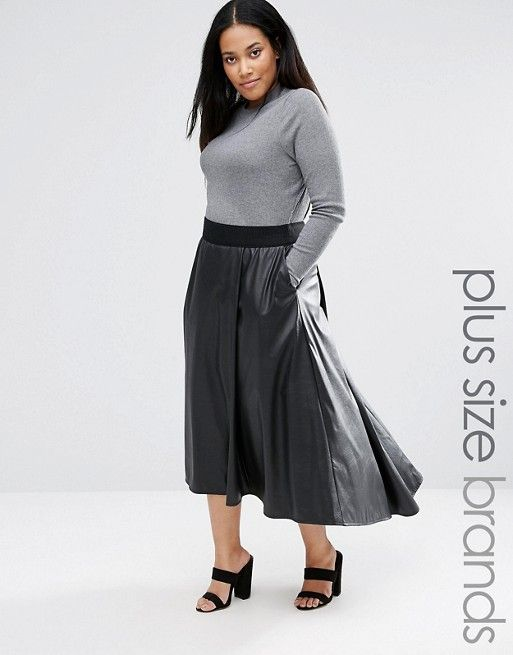 Elvi | Elvi Dip Hem Leather Look Midi Skirt