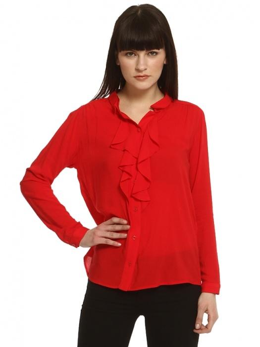 Enmoda Fırfırlı Kırmızı Gömlek