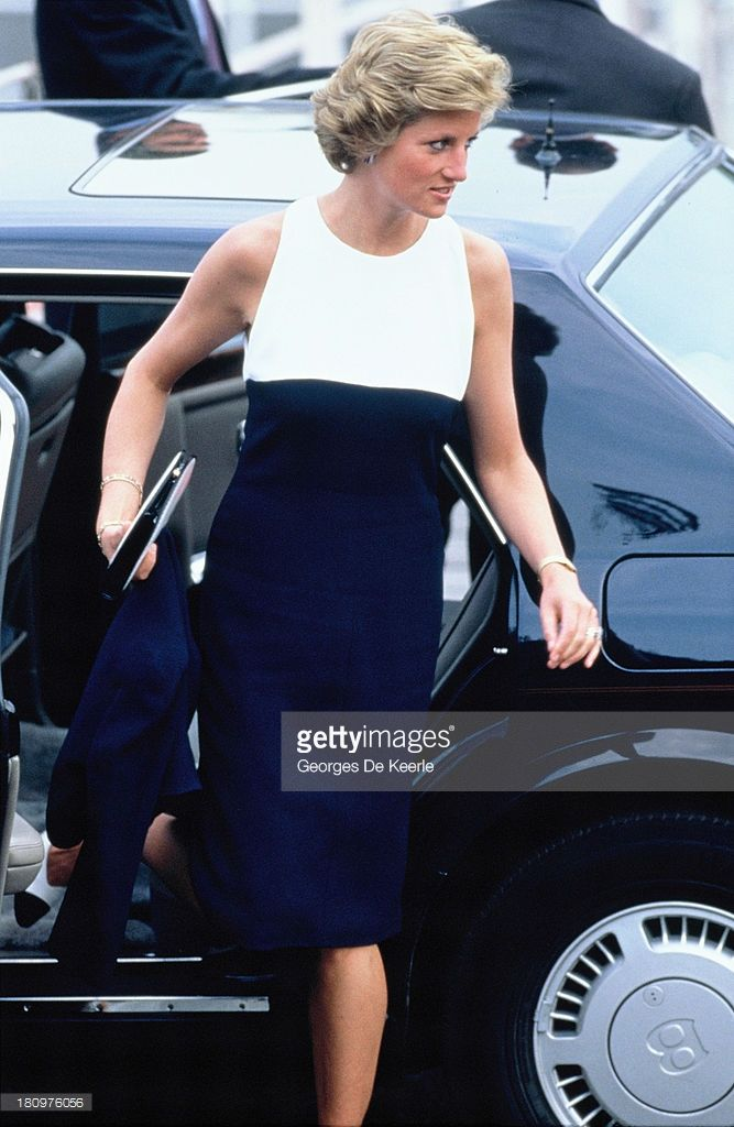 Diana, Princess of Wales, gets out of her car during her official visit to Hungary on May 10, 1990 in Budapest, Hungary.