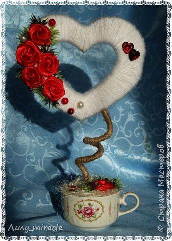 Бонсай топиарий Валентинов день Свадьба Моделирование конструирование Шерстяная валентинка Бусины Ленты Пряжа Шпагат фото 1