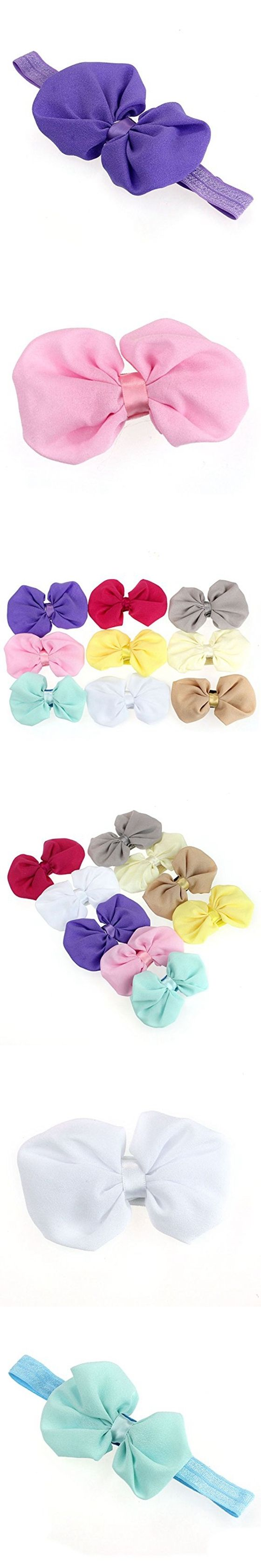 9PCS Babys Girls Chiffon Flower Elastic Headband Photography Headbands