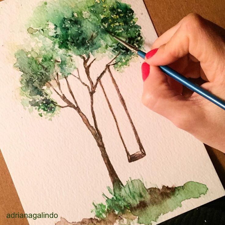 Tree 28, watercolor, 15 X 21 cm / Árvore 28, aquarela, 40treesproject,  illustration, ilustracao, natureza, nature, yoga, namaste, adrianagalindo/ drigalindo1@gmail...