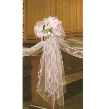 """How to Make a Tulle Bow; See pictures of wedding decorations - pews, tables, bouquets, wreaths & more.  Easy """"how to"""" instructions."""