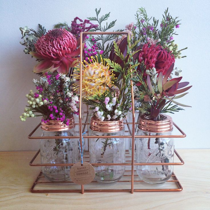 Rainy Sunday copper flower jars and mason jar carrier. www.rainysunday.com.au