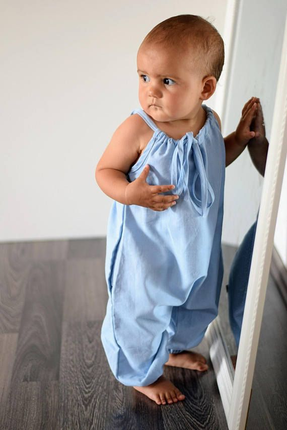 Organic Chambray Girls Summer Playsuit | Baby Girl Bubble Romper | Toddler Boho Jumpsuit |