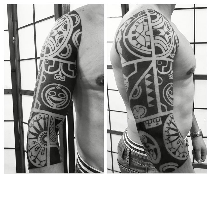 Tribal tattoo polynesian style. Black work Unity tattoo