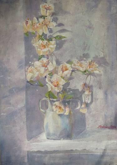 "Saatchi Art Artist Alexandra Krasuska; Painting, ""Cherry blossom moment"" #art"