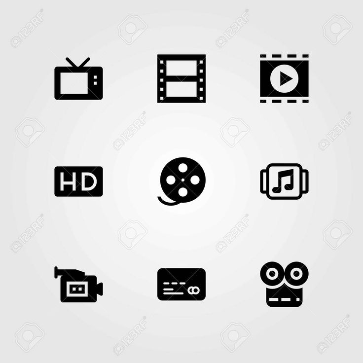 Technology vector icons set. music player, film roll and hd , #ad, #icons, #set, #Technology, #vector,