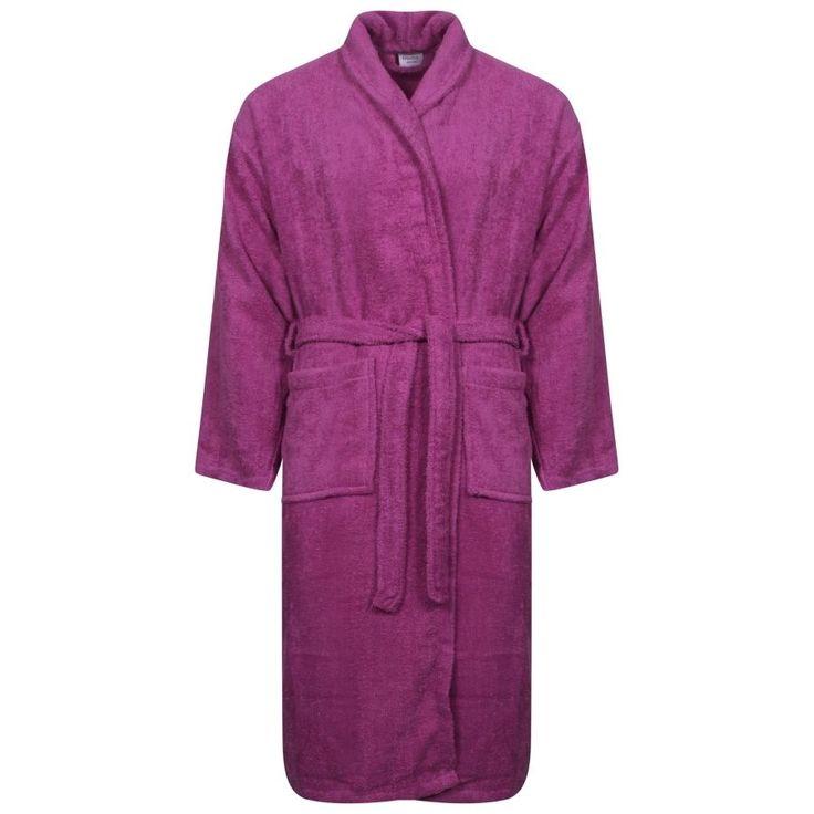 Ladies 100% Egyptian Cotton Purple Colour Terry Towelling Shawl Collar Bath Robe