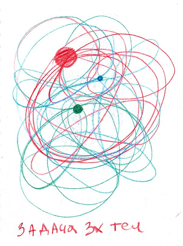 """""""Фундаментальная проблема небесной механики: определение движения трех тел под влиянием только их взаимных гравитационных притяжений. До сих пор нет точного общего решения. """" Ну и книга такая есть, про мир, в котором было 3 солнца, движения которых нельзя было предсказать, из-за чего всю планету и её жителей колбасило так, что погибло как около 200 цивилизаций прежде, чем они дружно свалили с этой планеты дабы колонизировать Землю."""