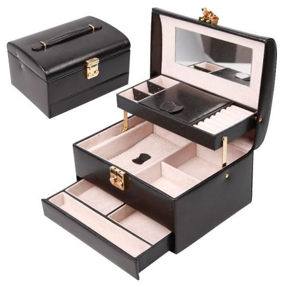 This jewelry box TXJB-063 is semi-automatic opening and closing,size is medium,not too large and heavy to carry and not too small to hold your messy jewelries.