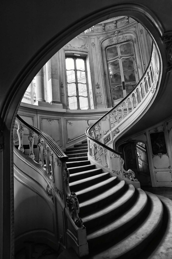8.  This image is a good example of chiaroscuro. Chiaroscuro shows emphasis on light and dark aspects in the photos. This photo shows the light staircase and windows versus the dark walls and back of the stairs.