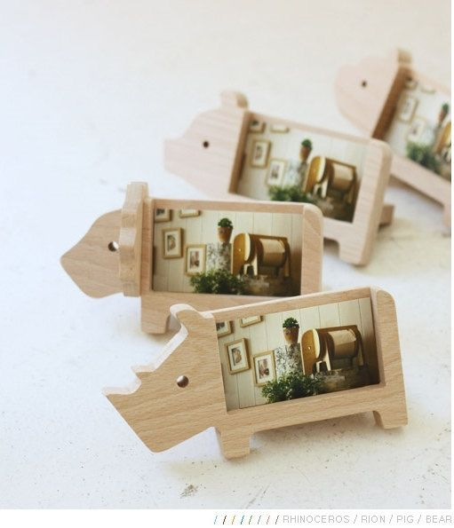 Wooden Business Card Holder ANIMALS of 8 Types / Memo by DubuDumo