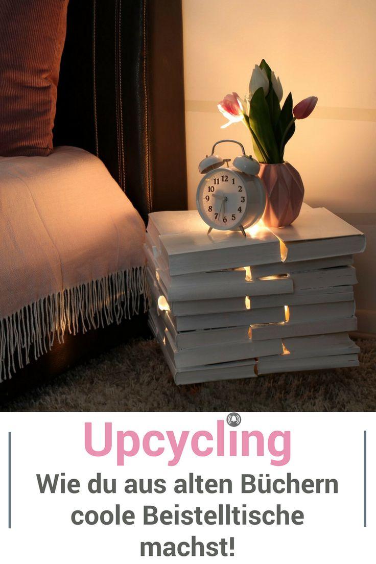 DIY und Upcycling mit alten Büchern. Daraus haben wir tolle Beistelltische gemacht. Den einen Tisch kannst du sogar von innen beleuchten, das sieht klasse aus! Schau dir das Video mit der Schritt für Schritt Anleitung dazu an.
