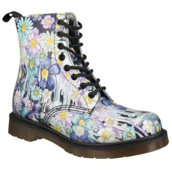 Inspired by the 'gore writing' of psychobilly flyers and artwork this splash of melting, colourful florals, drips down from the top line to the sole, updating one of Dr. Martens most iconic 8-eye boots. Our Reinvented range takes classic Dr. Martens styles and customises them, playing with their history to create something new every season. http://www.marshallshoes.co.uk/womens-c2/dr-martens-womens-pascal-purple-paint-slick-backhand-boots-21088500-p3778