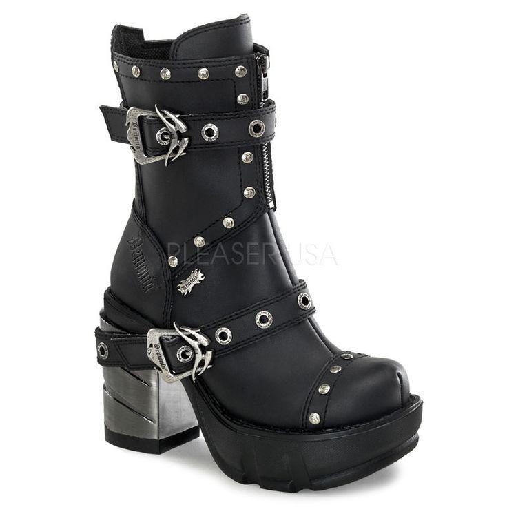 Demonia Sinister Chrome Heel Rivet Ankle Boots :: VampireFreaks Store :: Gothic Clothing, Cyber-goth, punk, metal, alternative, rave, freak ...