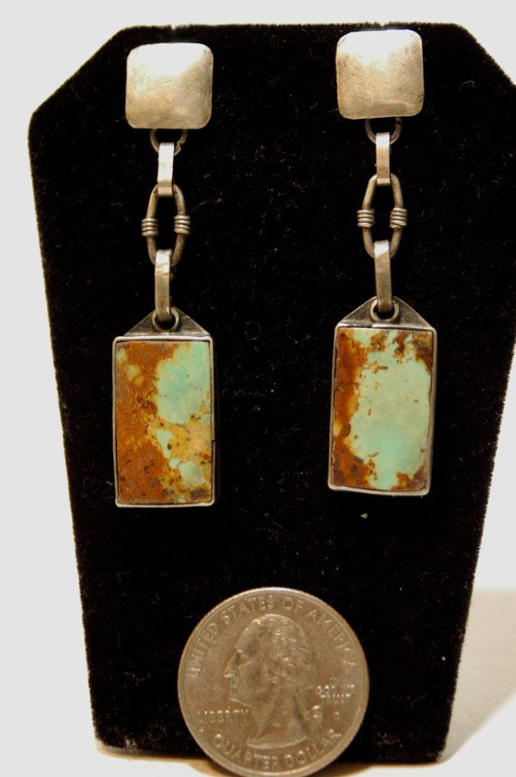 beauties. vintage turquoise navajo earrings made from old coins