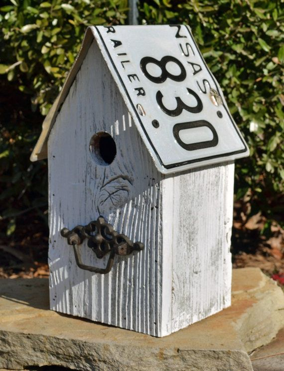 Rustic Birdhouse - Primitive Birdhouse - Recycled License Plates