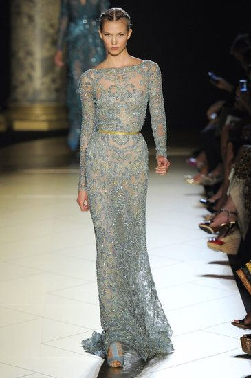 Elie Saab Couture Fall 2012, blue gown, gold gown, ice blue, lace, runway, fashion, romance