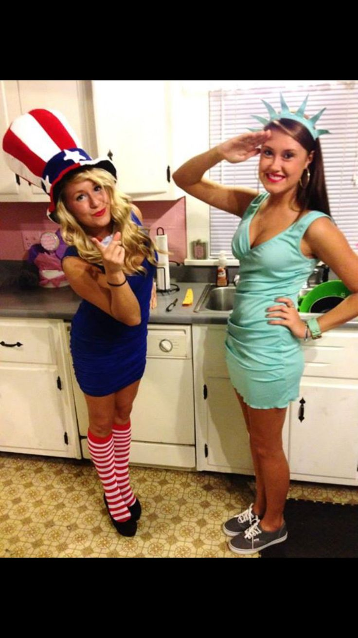God Bless America costume for Halloween | Uncle Sam and the Statue of Liberty #halloween #holiday #costume #girlcostumes #groupcostumes