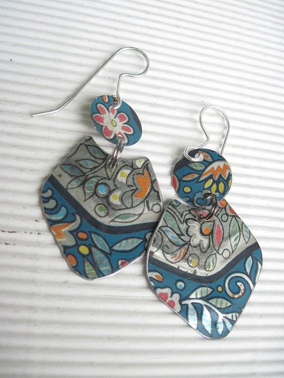 Teal Blue and Silver Vintage Tin Dangle by eaststreettins on Etsy