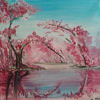 Cseresznyefák akril, vászon 30x30 cm