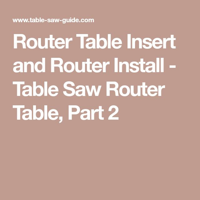 Router Table Insert and Router Install - Table Saw Router Table, Part 2