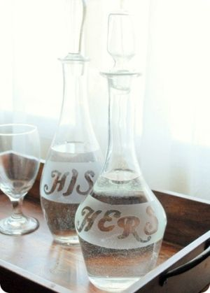 DIY Frosted Glass ideas.  All kinds of good ideas!  :D