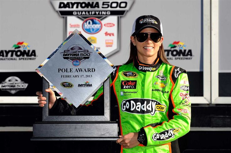 Danica Patrick through the years  Saturday, March 25, 2017  Patrick became the first woman to earn a pole award in the Monster Energy NASCAR Cup Series, earning the P1 starting spot for the 2013 Daytona 500.  Photo Credit: Getty Images  Photo: 6 / 13